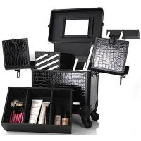 Wholesale Makeup Artist Carry Case With Tray PVC Cosmetic Train Trolley Makeup Box from china suppliers