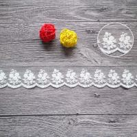 China Cotton On Nylon Mesh Embroidered Lace Ribbon For Wedding Dress Pilling Resistance on sale