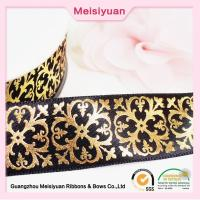 Buy cheap Gift Package hot foil ribbon With Printed Flower Pattern , christmas present ribbon Black Satin Ribbon from wholesalers