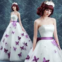 Buy cheap Off The Shoulder Purple Sashes Purple Butterfly Floor Length Organza Wedding Dress TSJY174 from wholesalers