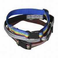 Wholesale Striped Nylon Dog Collars, Various Designs are Available, with Size XS-L, Made of Polyester from china suppliers
