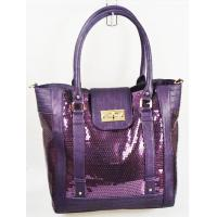 Buy cheap Purple PU Ladies Leather Handbags With Double Handle And Stylish Sequins from wholesalers