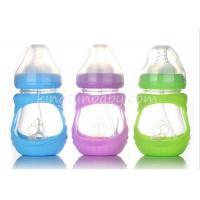 Anti-broken Wide Neck Glass Baby Feeding Bottle With Silicone Sleeve 210ML Manufactures