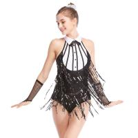 Wholesale Black-White Stunning Tap Costume Sequined-Fringes Mock Neck Dance Dress Performance Wear from china suppliers