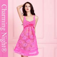 Buy cheap Fur Skirt Lace Rose Mature Women Sexy Sleep Wear Transparent Night Gown Dress from wholesalers