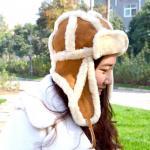 Buy cheap Girls Natural Lamb Fur Shearling Trapper Hat Aviator European Ushanka Style from wholesalers