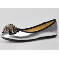 Silver / Gold Color Womens Ballerina Flats With Bead Flower Upper Manufactures