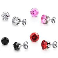Buy cheap Wholesale Stainless Steel Round Clear Cubic Zirconia Stud Earrings Women from wholesalers