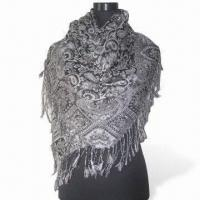 Wholesale Jacquard Women's Shawl, Weighs 175 to 220g, Made of 45% Viscose and 55% Acrylic from china suppliers