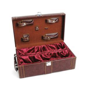 Wholesale Waterproof PU Custom Wine Box  2 Bottle Brown Handel and Lock from china suppliers