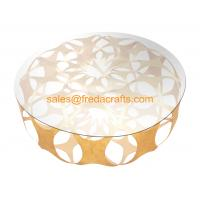Buy cheap Elegant Design Coffee Table in Iron sheet Base Tempered Glass Top Table Gold Leaf for home from wholesalers