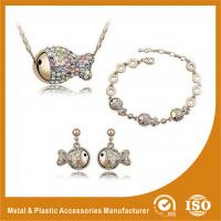 Wholesale Gold Plated Ladies Jewelry Sets Fish Shape Bracelet Earring Necklace Set from china suppliers