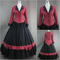 Buy cheap Cosplay Civil War Dress Wholesale Red Plaid and Black Long Sleeves Gothic Victorian Dress Classic Vintage Lolita Dress from wholesalers