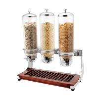 China SUNNEX Wooden Base Triple Head Cereal Dispenser for Buffet Service Dry Food Dispenser 4.0Ltr x 3 on sale