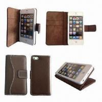 Wholesale PU Leather Mobile Phone Cases for iPhone 4/5, RIM's BlackBerry 811, Available in Various Colors from china suppliers