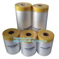 China Disposable PE pre-taped self static cling masking film, Cover mask plastic drop film PE protection film with tape, BAGEA on sale