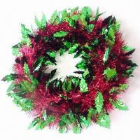 Buy cheap 16 Hologram/Shinny Holly Tinsel Wrap Wreath, Two-tone & Solid, Tailor-made Colors Selectable from wholesalers