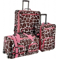 Wholesale Softside 3Piece Pink Giraffe Spinner Suitcase Set Expandable from china suppliers