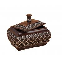 Buy cheap Treasure Chest Purplish Red  Resin Trinket Box Carved Floral Motifs On Top from wholesalers