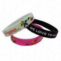 Wholesale Fancy Bracelets with 2mm Thickness, Made of Silicone Gel, Measures 120 x 12mm from china suppliers