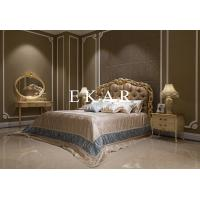 Buy cheap Italian Luxury Antique Carved Wood Fabric Bed Bedroom Furniture from wholesalers