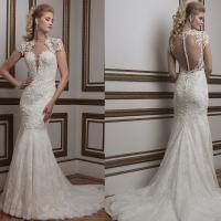 Buy cheap 2016 New Arrival Romantic White Perspective Lace Slim Waist Deep V Mermaid Wedding Dresses from wholesalers
