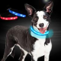 Buy cheap C903 Cute Style Custom Logo Nature Nylon Rechargeable Flashing LED protect dog collar pet accessories With USB from wholesalers