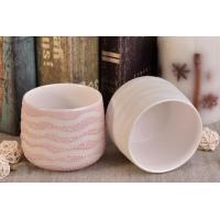 Buy cheap Pearl Glazed Iron Plating Ceramic Candle Vessels with Wave Pattern from wholesalers