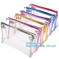 Buy cheap Clear PVC Makeup Bag With Button Closure Slider Cosmetic Packaging Bags, cosmetic packaging slider bag with custom logo, from wholesalers