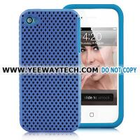 Buy cheap iphone 4S protective cases -42361 Ventilated Plastic And Silicone Case For iPhone 4 - Blue from wholesalers