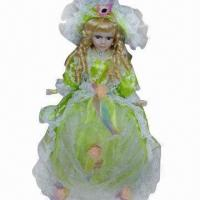Buy cheap Doll with handmade crochet clothing, suitable for wedding or children's toys from wholesalers