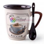 Buy cheap 350ml ceramic coffee mug with spoon with lid custom printed mugs пить кофе personalized coffee mugs design by decal from wholesalers
