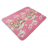 Christmas Gift Soft Polyester Peach Baby Blanket / Baby Knitted Blanket Bear Pattern