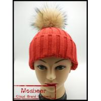 Buy cheap Women`s knitted hat wit big raccoon fur ball/knitted beanie hat for girls from wholesalers