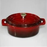 Buy cheap Oval Mini Cast Iron Casserole With Lid In Deep Red from wholesalers