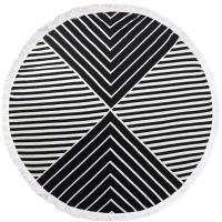 Buy cheap Hot sell 100% Cotton Tassels Round Swimming Beach Towel Black White Stripe Circle Beach Towel from wholesalers