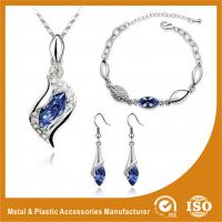 Wholesale Charming Gold Blue Crystal Zinc Alloy Jewelry Sets For Bridesmaids from china suppliers