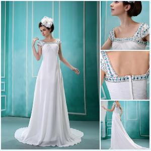 Square Neckline Blue Rhinestone Custom Made Prom Dress (BLF-006) Manufactures