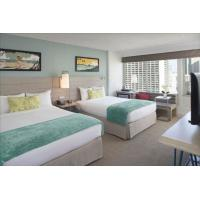 Buy cheap Pattaya resort hotel fixed hotel furniture used melamine board bedroom furniture set with cabinets and fabric hotel sofa from wholesalers
