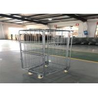 Buy cheap Galvanized Washing Basket Trolley Two Doors On Wheels Custom Wire Size from wholesalers