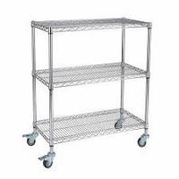 Buy cheap Custom Size Wire Utility Cart With Wheels / 3 Shelf ESD Wire Shelving from wholesalers