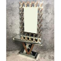 Buy cheap Sparkly silver mirrored console table LV bronze mirror decorative hallway table for living room from wholesalers