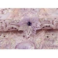Buy cheap Wedding Beige Purple Pink Colorful Mesh Lace Fabric Ostrich Feather Sequin 3d from wholesalers