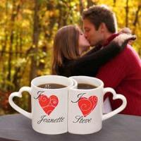 Buy cheap Unique 300ML love Couples Coffee Mugs With Heart Shape Handle from wholesalers