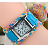 Buy cheap 2015 korea rope watch woven cracked leather band wide belt watch rainbow watch 5 colors ladies knit bracelet watch from wholesalers