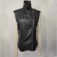 Buy cheap Girl's Trendy Black Leather Jacket Short Leather Coat With Knitted Sleeves from wholesalers