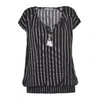 Buy cheap Tassel Decoration Ladies Fashion Tops Girls Black And White Striped Shirt from wholesalers