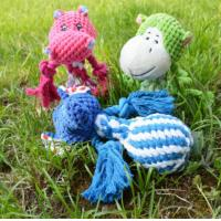 Wholesale Small Plush Animal Head Braided Rope Ball W Squeaker Inside Dog Chewing Toy from china suppliers