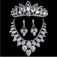 Chic Heart Shaped Jewelry Necklace Earrings Crown for Weddings Manufactures