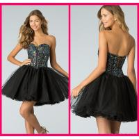 Buy cheap Black Tulle Short Long Homecoming Dresses With Crystal Gowns Lace Up from wholesalers